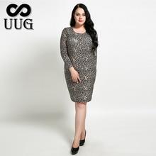 UUG 2xl-7xl Women Bodycon Dress Leopard Inner Dresses Soft Thin High Elastic Vestidos 5xl 6xl  Autumn Spring Basic Sheath