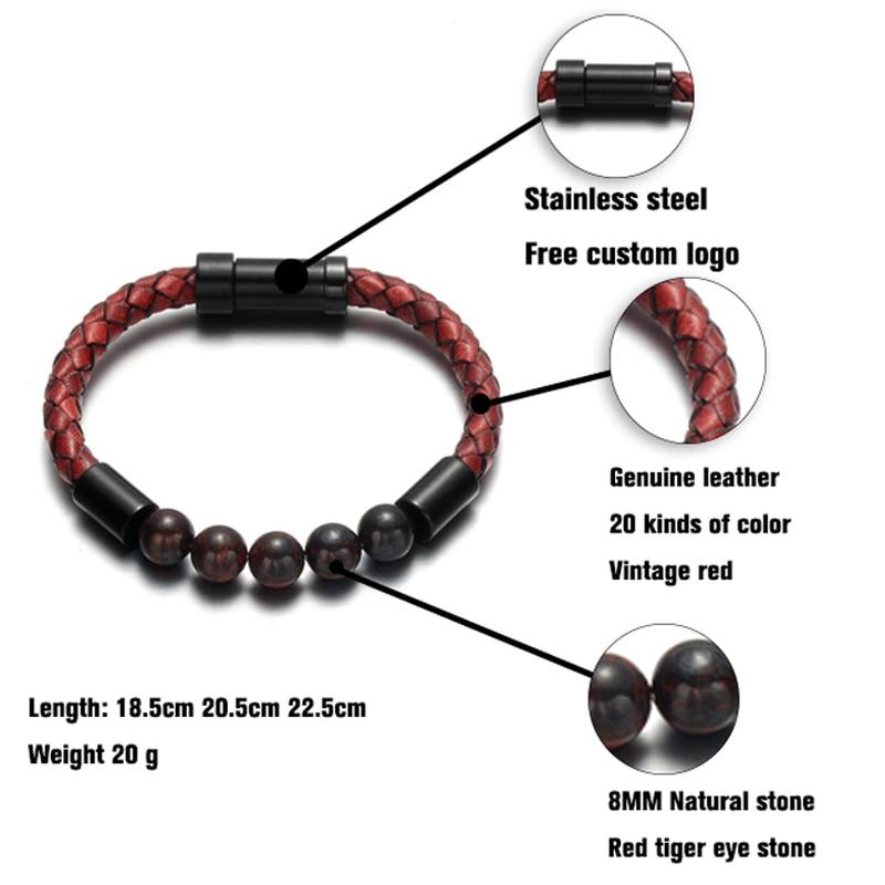 Bracelet en cuir tressé pour hommes et femmes, nouveau, breloque rouge, pierre naturelle 6