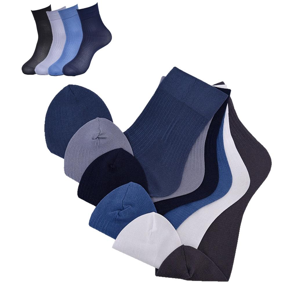 5 /10 Pairs Lot Business Men's Socks Thin Cotton Long Crew Socks Summer Autumn Silk Socks Casual Soft Elastic Ankle Socks Male