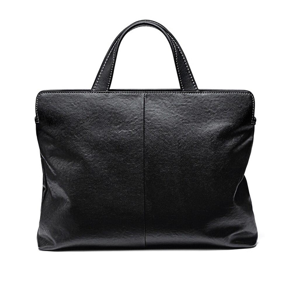 Folding Cowhide Leather Business Briefcases Soft Black Genuine Leather Men Handbag Large Capacity Square Laptop Document Bags