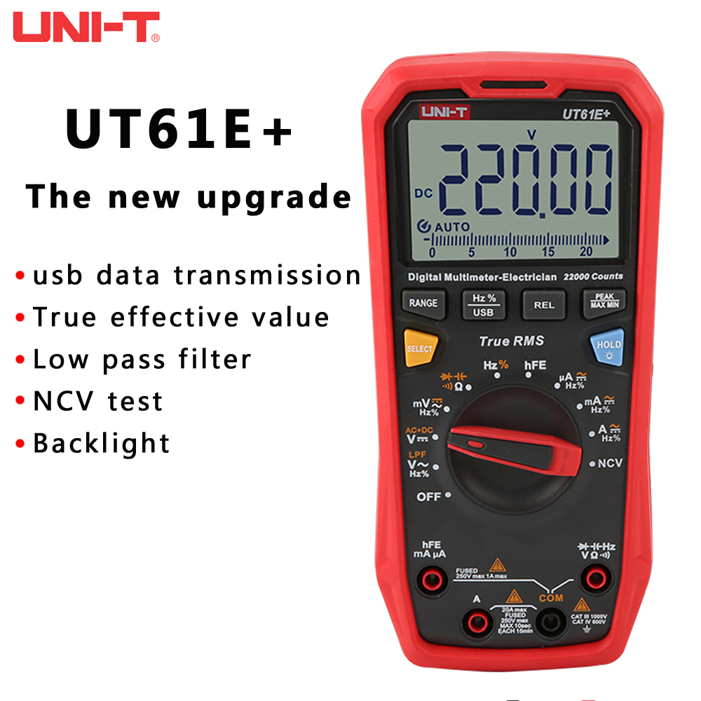 Upgraded Version Of UNI-T UT61E   UT61D   UT61B Digital Multimeter True RMS AC DC Voltage Current Resistance Capacitance Tester