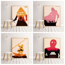 HD Star Wars Silhouettes Poster canvas painting hight quality home Decor for living room Nursery Kids Room No Frame O74(China)