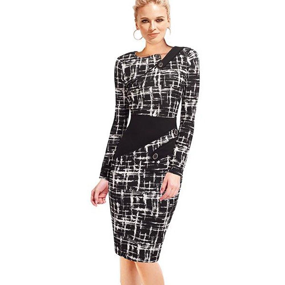 Черное платье туника для женщин Формальная работа Офис Оболочка Лоскутная линия Асимметричная шея длина до колена размера плюс карандаш платье B63 B231 - Цвет: Black