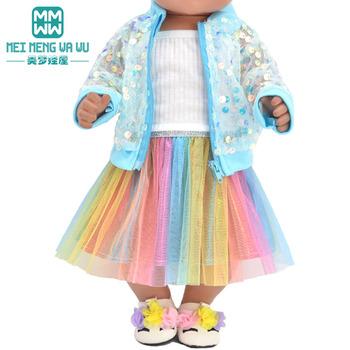 Ubranka dla lalek dopasowane 43 cm noworodki akcesoria dla lalek modne cekinowe kurtki i sukienki świąteczne prezenty dla dzieci tanie i dobre opinie meimengwawu Tkaniny CN (pochodzenie) baby new born doll Unisex Moda Płaszcz 43cm