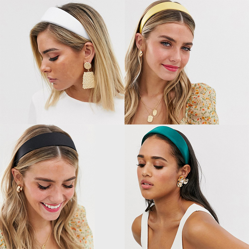 Simple Wide Artificial Leather Covered Plastic Headband Hair Band Accessories