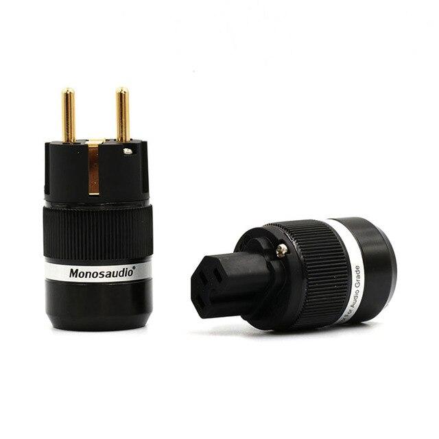 쌍 Monosaudio 하이 엔드 E100G/F100G 순수 구리 금도금 EUR 전원 플러그 IEC 커넥터 플러그 hifi 오디오 shucko 전원 플러그