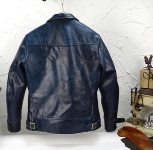 Image 4 - Genuine leather Italy oil wax blue Japan cowhide retro Amekaji real leather man thickness cow leather jackets Motorcycle Jacket