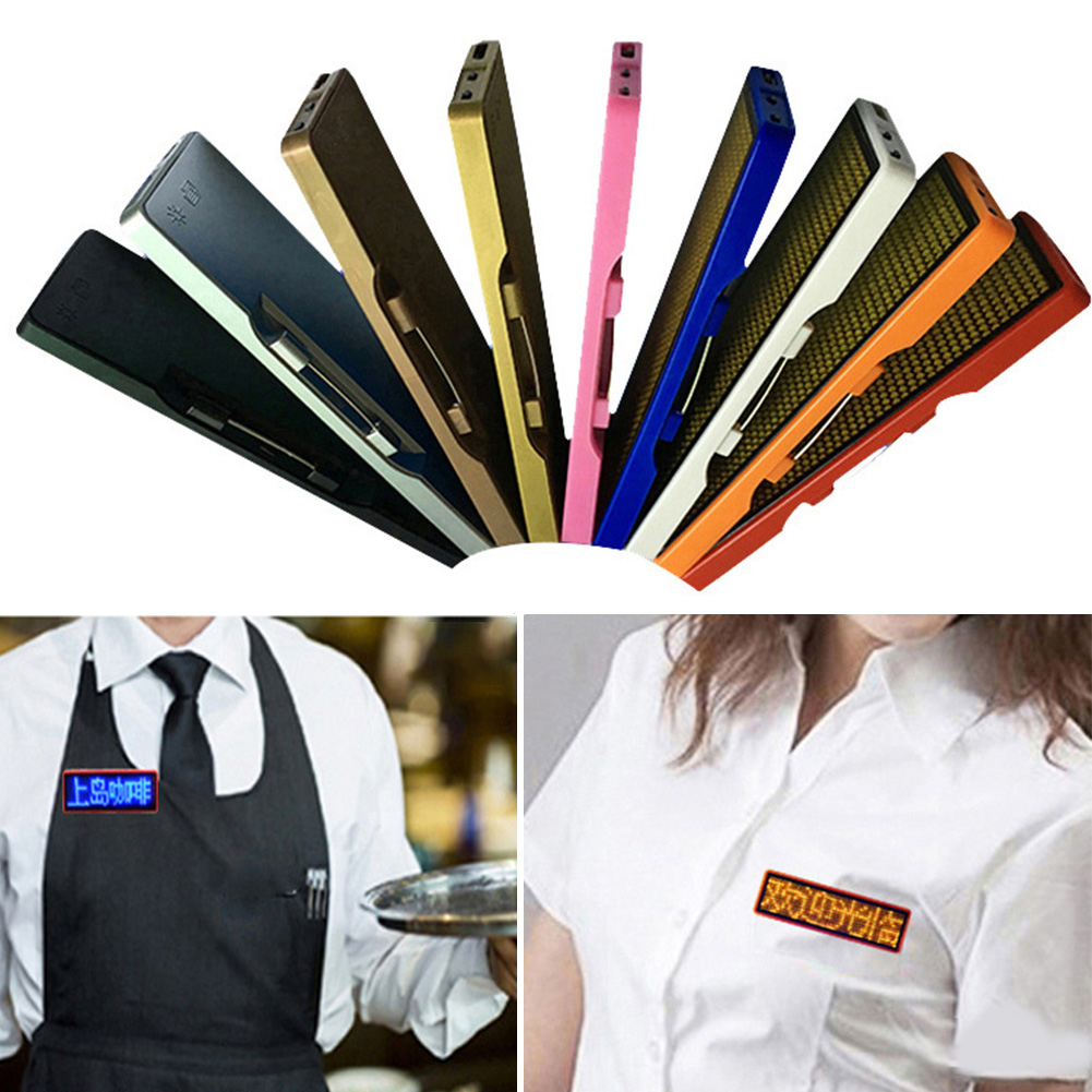 Digital Programmable Scrolling LED Name Tag Party Rechargeable Display Badge Mini Advertising Business Card Message Sign Hotel