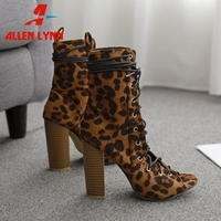 ALLENLYNN Large Size 35 42 Ladies 2020 Sexy High Heels Shoes Woman Lace Up Summer Peep Toe Boots Women Fashion Leopard Boots