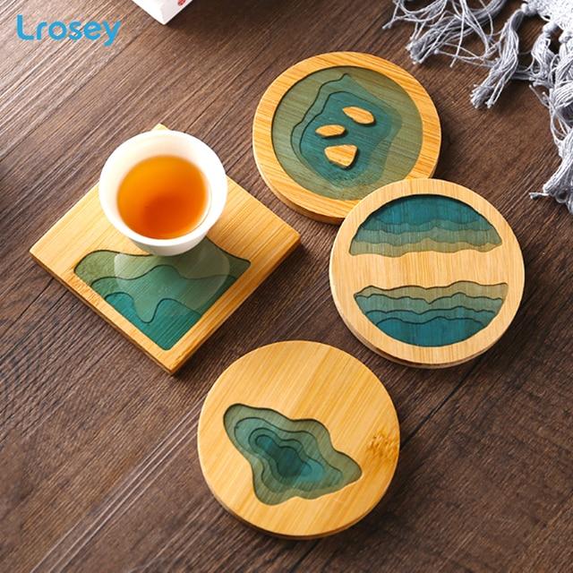 Chinese Placemat Bamboo waterproof insulation pad Fresh landscape Coaster Creative Kitchen Table Mat Home decor Dinner Plate Mat cb5feb1b7314637725a2e7: A|B|C|D|E|F|G