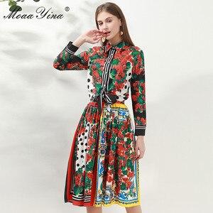 Image 2 - Модный дизайнерский комплект moaayina, Весенняя женская рубашка с длинным рукавом и цветочным принтом, Топы + юбка, элегантный праздничный комплект из двух предметов