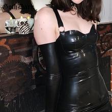 Goth foncé Grunge Sexy Pu noir Mini robes gothique Punk en cuir moulante taille haute robe femmes dos nu sans manches Partywear