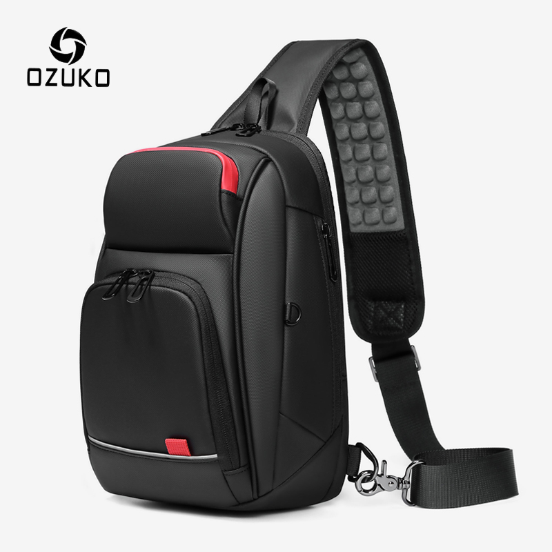 OZUKO 9.7 Inch IPad Crossbody Bag Men Waterproof USB Charging Chest Pack Short Trip Messenger Sling Bags Male Shoulder Chest Bag
