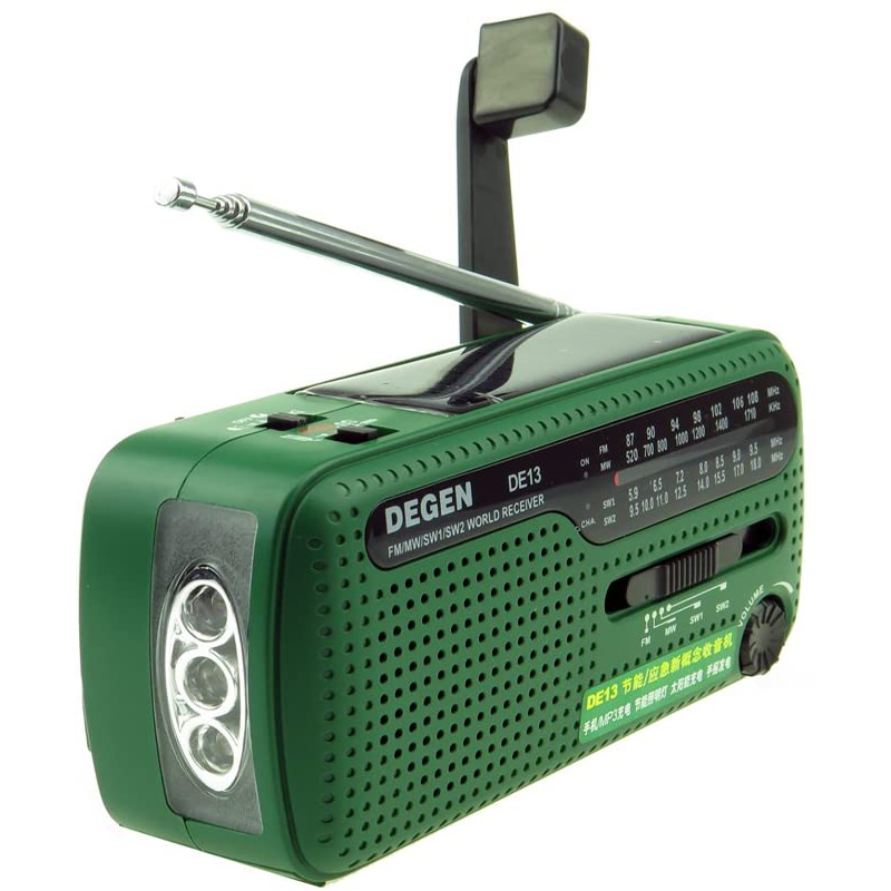 FM AM SW Receiver Crank Dynamo Radio With Mobile Phone Charger Flashlight image