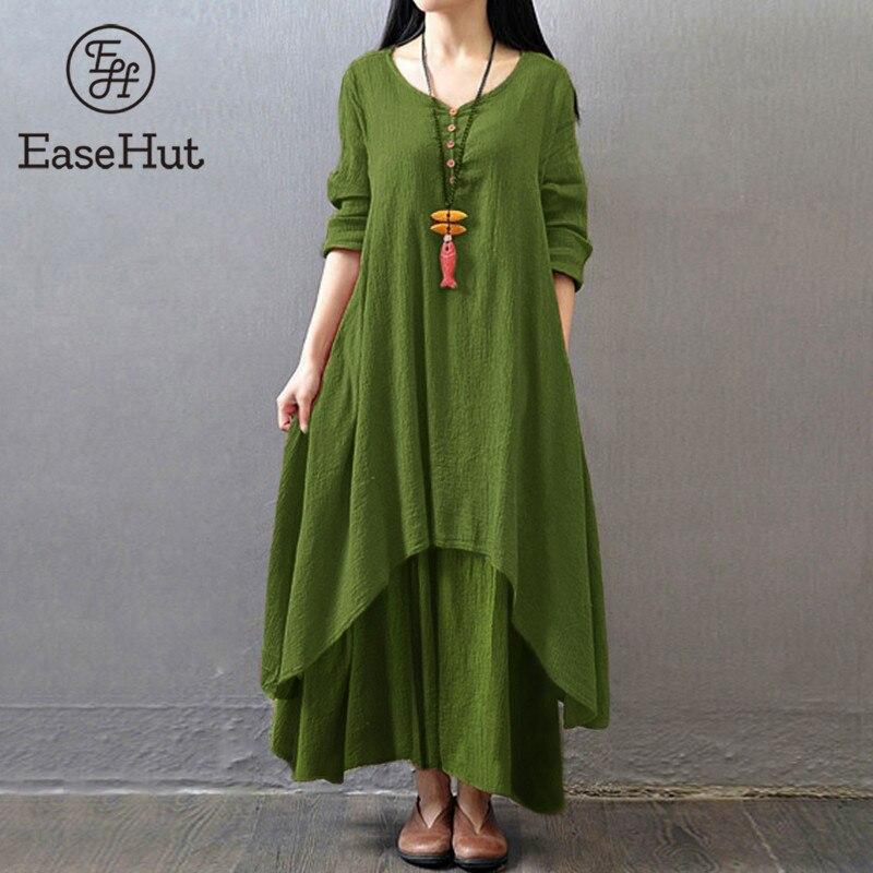 EaseHut Vintage femmes décontracté lâche robe solide à manches longues bohème ethnique automne Long Maxi robes de grande taille rétro vestido mujer