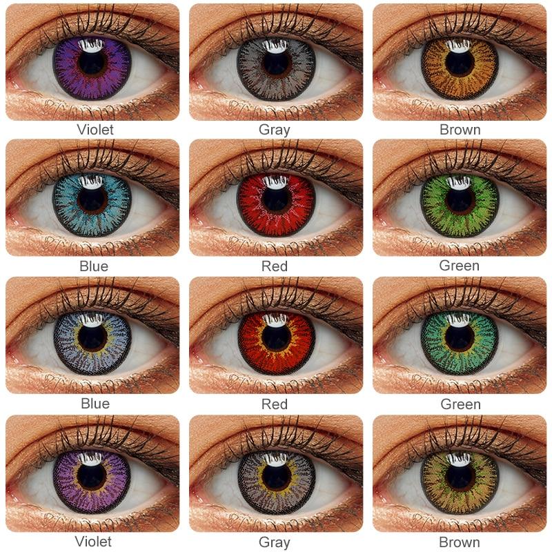 1 par (2 pçs) lentes de contato cor para olhos anime cosplay lentes coloridas azul verde lentes multicoloridas lente de contato beleza maquiagem
