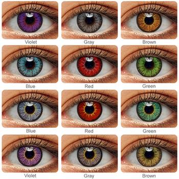 1 para (2 szt ) kolorowe soczewki kontaktowe do oczu Anime Cosplay kolorowe soczewki niebieskie zielone wielokolorowe soczewki soczewki kontaktowe uroda makijaż tanie i dobre opinie Magister CN (pochodzenie) 14 5 Dwa kawałki 0 06-0 15 mm PHEMA Piękna źrenica Color Contact Lenses For Eyes Anime Cosplay Multicolored Lenses