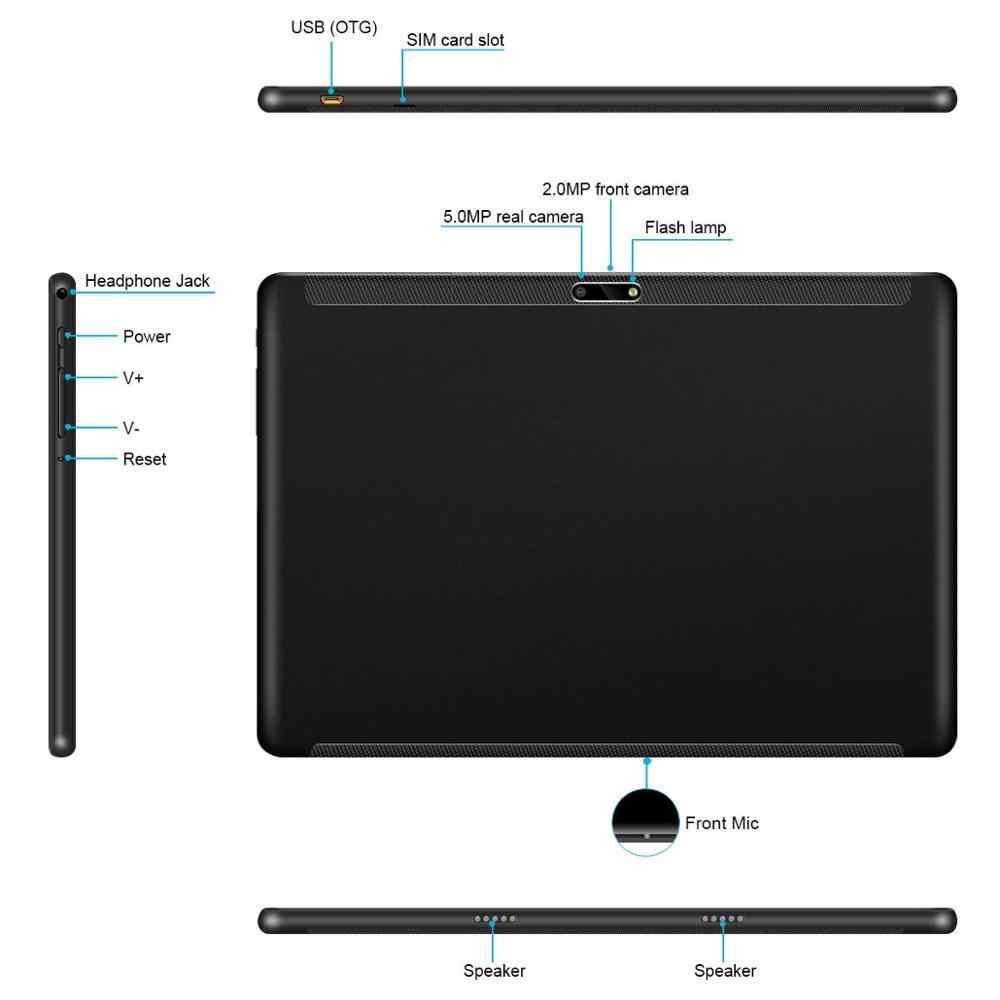 تابلت من الزجاج المقسى الفائق 10 بوصة بنظام الأندرويد 9.0 تابلت الجيل الثالث 4G LTE 1280*800 6GB RAM 64GB ROM بشريحتين IPS هاتف محمول مزود بنظام تحديد المواقع