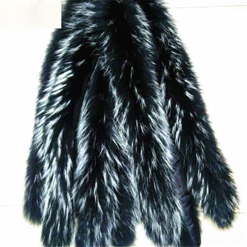 Image 4 - Qearlstar 2019 Real Raccoon Fur Collars Black Fur Scarf Women Winter Coat Parka Jackets Real Fur Hood Trim Collar 70*12cm Zxx122-in Women's Scarves from Apparel Accessories