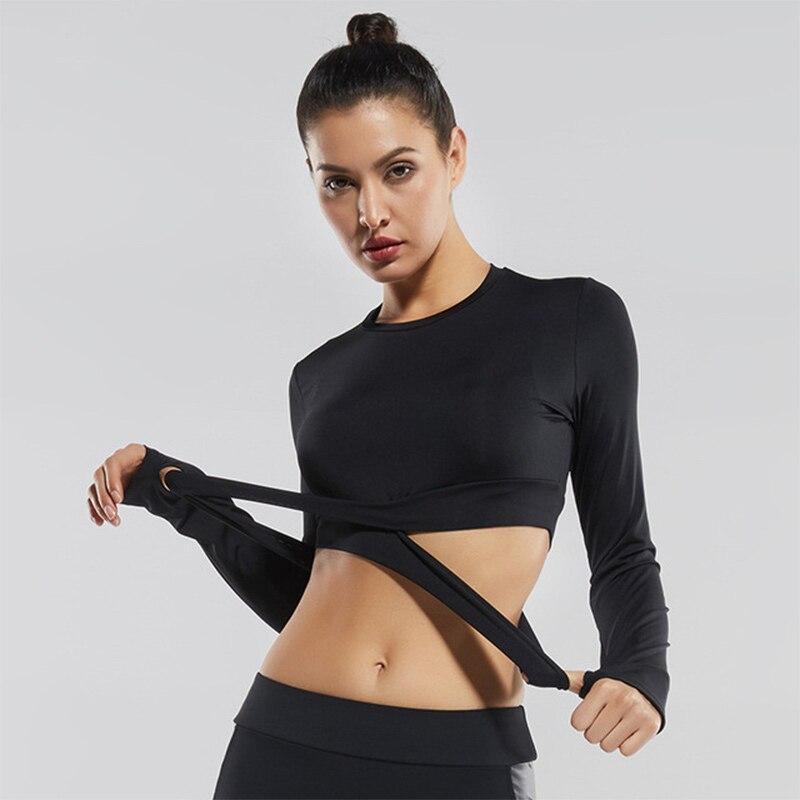 Спортивная одежда для женщин укороченный Топ с длинным рукавом