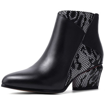 Size 34-43 Fashion Genuine Leather Women Ankle Boots Snake High Heels Women Shoes Motorcycle #Y0306760F