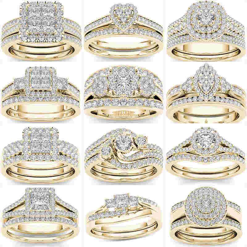 Роскошные кольца с большими кристаллами для женщин Свадебные обручальные кольца женские в винтажном стиле в виде геометрических фигур, цир...
