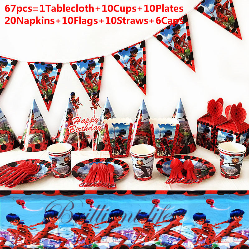 Cartoon Butterfly Bee Girl  67Pcs/97Pcs Disposable Tableware Cup Plate Banner Kid Birthday Decoration Family Party Event Supplie