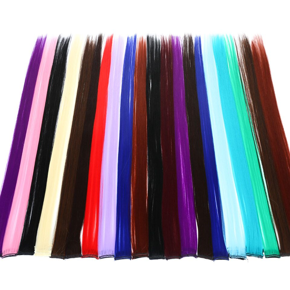 All Long Straight Color Hair Piece Hair Extensions Clip In Highlight Rainbow Hair Streak Pink Synthetic Hair Strands on Clips