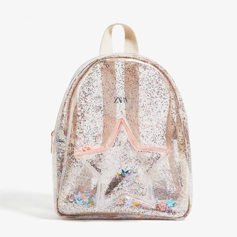 Children's Bag Girls Transparent Mini Color Sequins Star Backpacks Women's School Bags