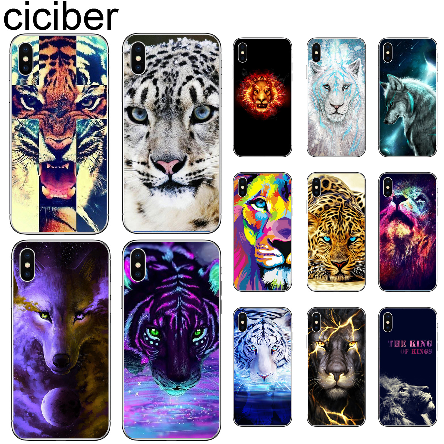 ciciber Phone Cases For Iphone 11 Pro Case Cover For iPhone XR 11 Pro 7 X XS MAX 8 6 6S Plus 5S SE Silicone Animal Lion Tiger