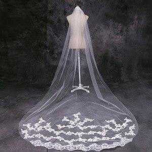 Image 5 - 4 מטר לבן שנהב קתדרלת חתונת רעלות ארוך התחרה Edge כלה רעלה עם מסרק כלה כלה אביזרי רעלה