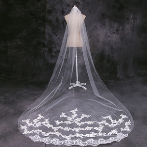 Image 5 - 4 Meter White Ivory Cathedral Wedding Veils Long Lace Edge Bridal Veil with Comb Wedding Accessories Bride Wedding Veil