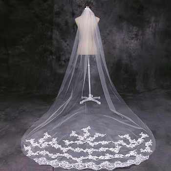 4 Meter White Ivory Cathedral Wedding Veils Long Lace Edge Bridal Veil with Comb Wedding Accessories Bride Wedding Veil