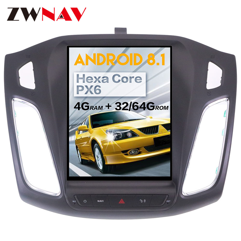 tesla style Android 8 1 big screen Car DVD For ford focus 2012 2015 Auto Audio