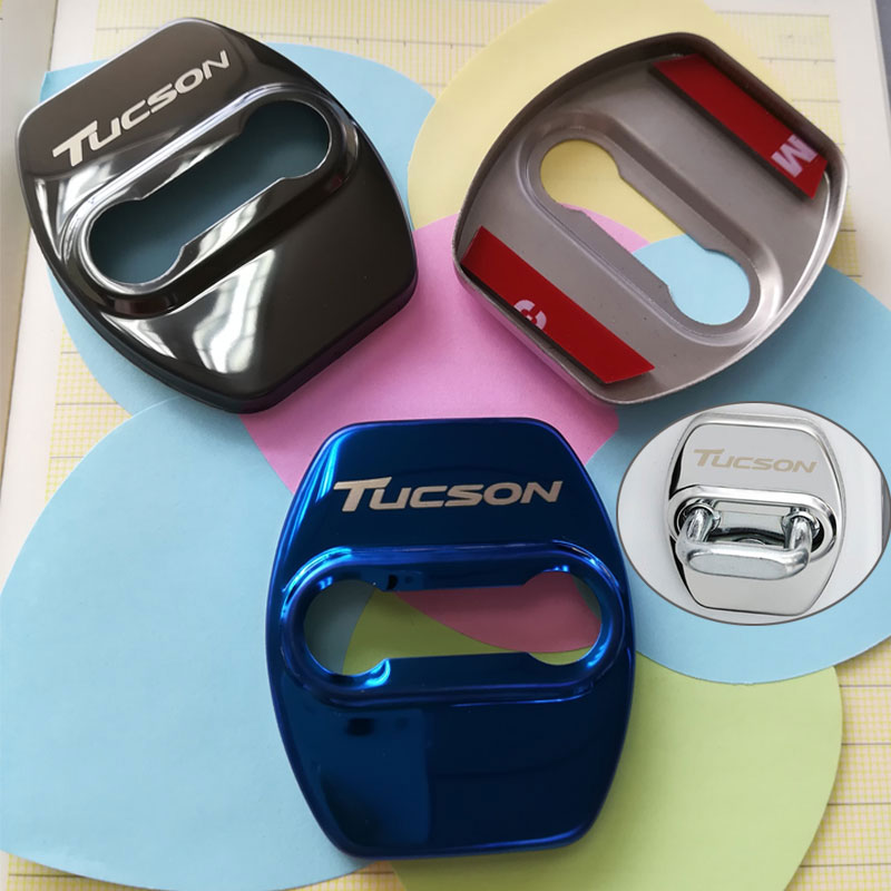Car Door Lock Decoration Protection Cover emblem case for hyundai tucson 2010 - 2019 2020 accessories Auto Exterior styling