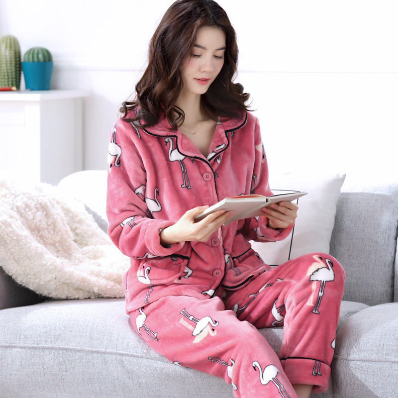 Lovely Flannel Pajamas Women's Warm And Thick Coral Velvet Long Sleeve Cardigan Strawberry Sleepwear Comfortable Women Pajamas