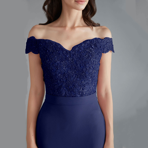 Beauty Emily Lace Navy Blue Evening Dress 2019 Beads Sequined Long Lace Up Formal Party Prom Dress Floor-length  robe de soiree Multan