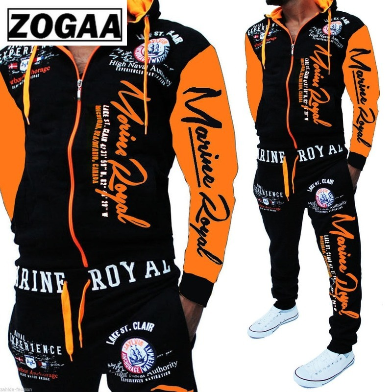 ZOGAA Men Track Suits Hooded Jacket Sweatsuit Sports Suits New Sportswear Men's Jogger Sets Printed Tracksuit Men Clothes