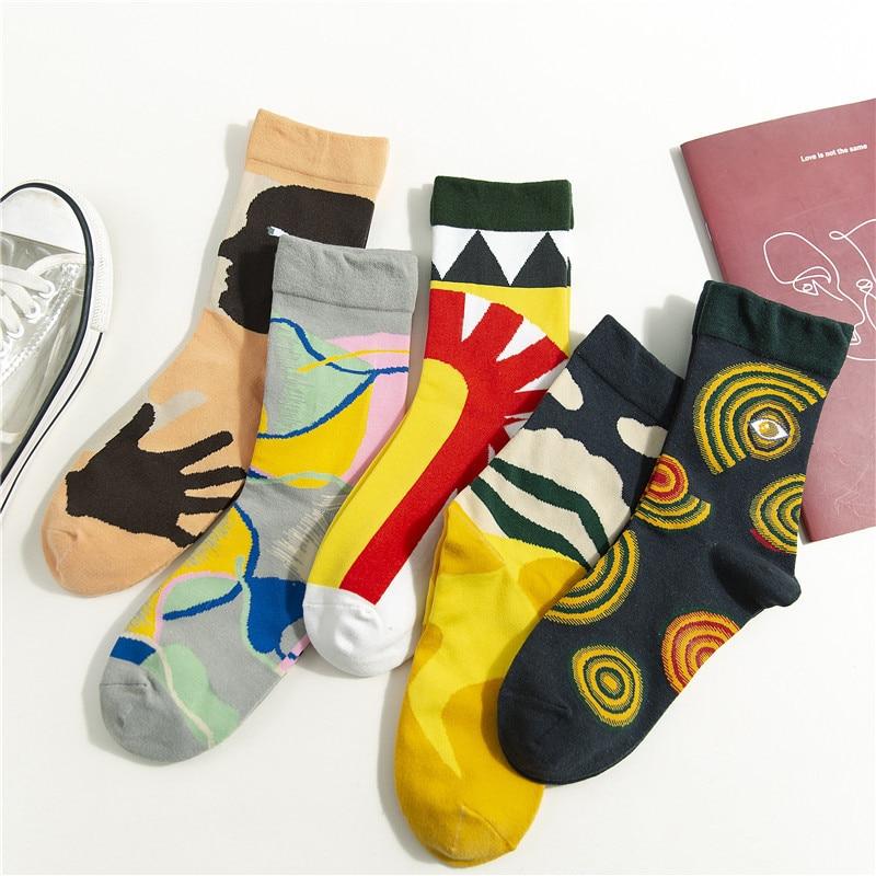 Women Casual Socks 2019 Autumn Winter New Fashion Trend Deodorant Cotton Cute Motion Retro Color Happy Printing Socks Women