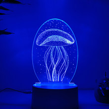 3D Lamp LED Light jellyfish, Eiffel Tower Illusion Lamp 7Colors & 16 Colors Change Decor Night Light With Remote Control Holiday