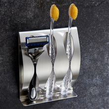 Stainless Steel 3 Holes Toothbrush Holder Wall Mounted Razor Holder With Self Adhesive Tape Multifunctional Storage Organizer