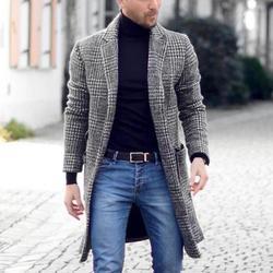 Новое Осеннее и зимнее теплое мужское Ретро модное эксклюзивное однобортное пальто длинное шерстяное Пальто Повседневное деловое пальто