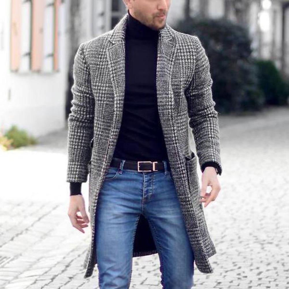 Новинка, осенне зимнее теплое мужское однобортное пальто в стиле ретро, длинное шерстяное пальто, повседневное деловое пальто|Пальто| | АлиЭкспресс