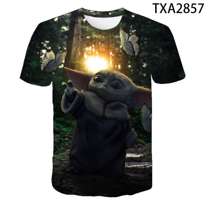Baby Yoda Mandalorian T Shirt Men Women Children Aesthetic Star Wars T-shirt 3D Print Tops Boy Girl Kids Cool Summer Tee Male