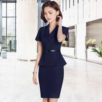 Professional suit commuter beauty salon Plastic reception desk worker\'s suit consultant white suit
