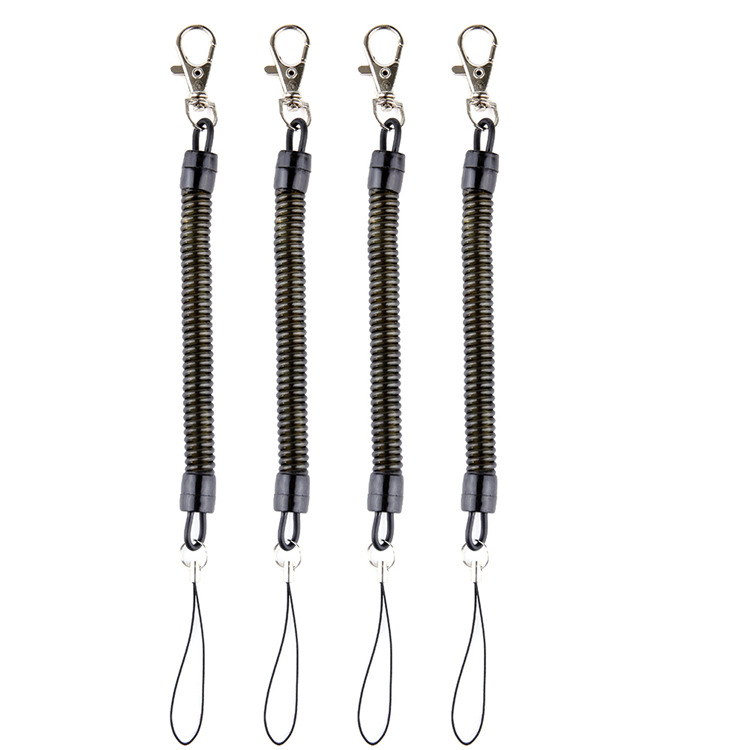 DHLfree 500pcs Black Retractable Spring Coil Spiral Stretch Chain Key Chain Key Ring Spring Rope