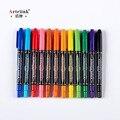 Оптовая продажа 12 шт цветные двойные кончики быстросохнущие перманентные маркеры для ткани, металлические качественные консилеры для рисо...