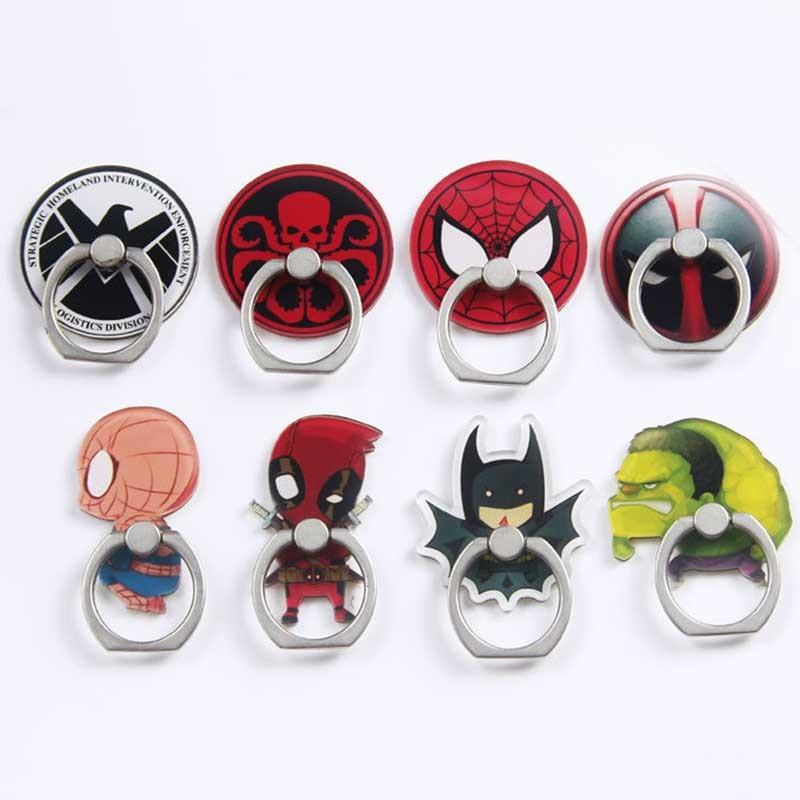 New Arrival Mobile Phone Holder Metal Finger Ring Holder Cute Cartoon Batman & Spiderman Phone Ring Holder Phone Stand Support