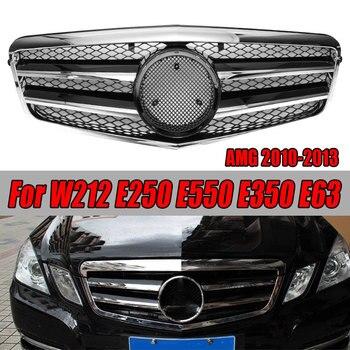 1 Uds rejilla frontal superior para Benz W212 E250 E550 E350 E63 AMG 10-13 accesorios de coche negro brillante plata