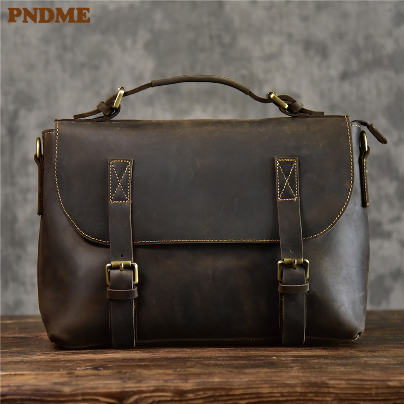 PNDME Vintage Crazy Horse Cowhide Men's Briefcase Designer Handmade Luxury Genuine Leather Satchel 13 Inch Laptop Messenger Bag